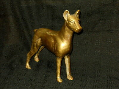 Vintage Brass Doberman Pinscher Dog Paperweight Door Stop Figurine