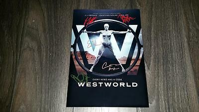 "Westworld Pp Cast Signed 12""x8"" A4 Photo Poster Anthony Hopkins Ed Harris"