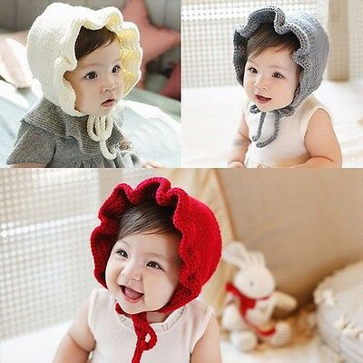 Newborn Baby Girls Hat Princess Flower Caps Winter Knitted Hat Photography Props
