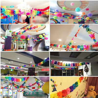 New Hanging Paper Garland Chain Home Wedding Birthday Party Ceiling Banner Decor