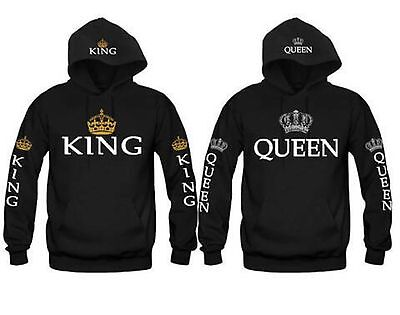New Print King And Queen Hoodies Valentine Matching Cute Love Couples Sweatshirt
