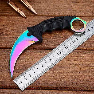 CSGO Fixed Blade Karambit Knife Sharp Outdoor Hiking Survival Saber with Sheath