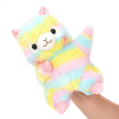 9.5''x7'' Alpacasso Amuse Hand Puppet Rainbow Stripe Llama Alpaca Plush Gloves