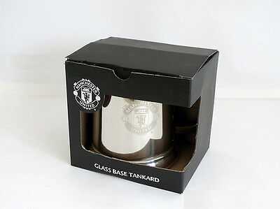 Man United Glass Bottom Tankard - Stainless Steel - Ideal Football Gift