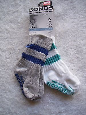 BNWT Baby Boy's Bonds 2 Pack Blue, Grey & White Stay On Socks Shoe Size 00-1