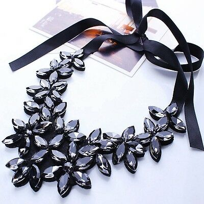 Attractive Chunky Crystal Big Flower Ribbon Pendant Necklace Statement Collar