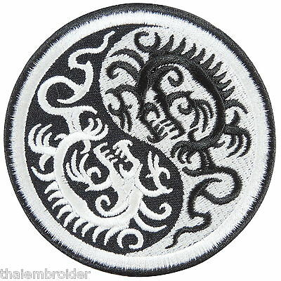 Yin Yang Tao Taoism Dragons China Chinese Peace Hippie Boho Iron-On Patch #AU007