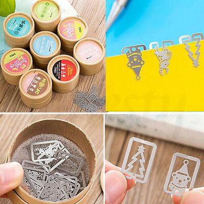 20pcs Novelty Mini Stainless Steel Bookmarks Clip Bookmark Stationery Xmas Gift