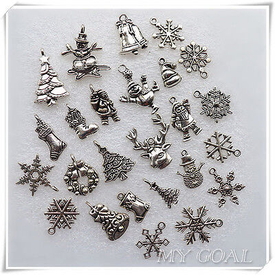 50X Christmas Pendants Charms Mixed Tibetan Bead Necklace Bracelet Craft Silver