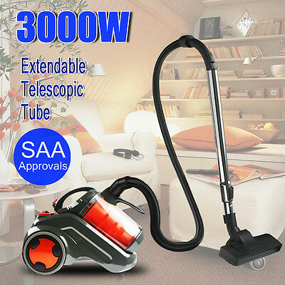 Powful 3000W Cyclone Bagless Vacuum Cleaner Turbo Filtration System Floor Brush