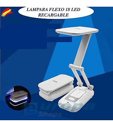 Lampara Flexo 18 Led Portatil Recargable Mesilla Nocturna Axuliar Recargable