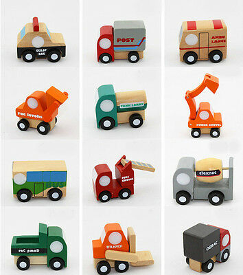 12 pcs Baby Children Gift Educational Wooden Mini Toy cars