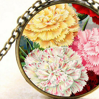 New Heirloom Victorian Carnations, Pendant Necklace, Garden Flowers Vintage Art