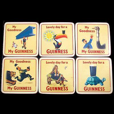 Genuine Guinness Coaster Set Vintage Advertising Cork backed Wipeable 6 designs