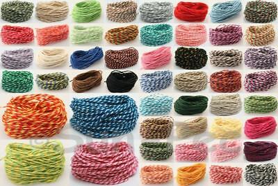 Colored Cotton 8/12ply ~2mm Bakers Twine Cord Rope Crochet Crafts Thread 5-50yr