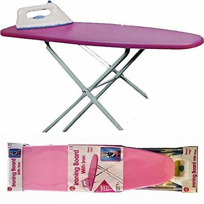 Kids Pink Toy Ironing Board & Iron Childrens Girls Pretend Role Play 50x54x19cm