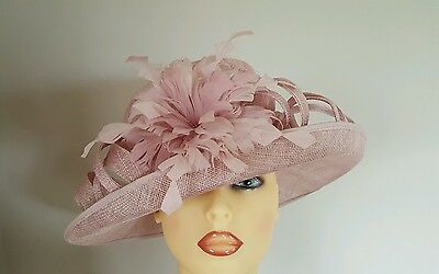 Ladies Occasion Wedding Mother Bride Races Hat Dusty Pink Stunning By Hatitude