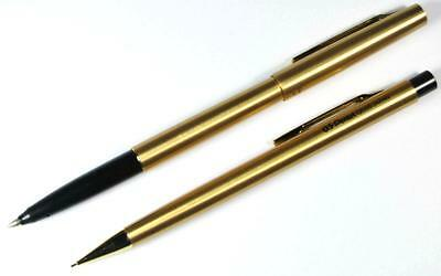 Pentel Vintage Slim Rolling Writer Roller Pen and 0.5mm Pencil Set - Gold (NOS)