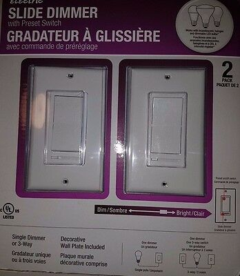 Electric Light Switch Dimmer  1 gang Feit Electric Slide Dimmer LED *2 Pack *