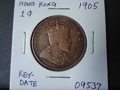 "Hong Kong 1905 Edward Vii "" Key-Date"" 1 Cent, Almost Strong Ef! Very Scarce Date"