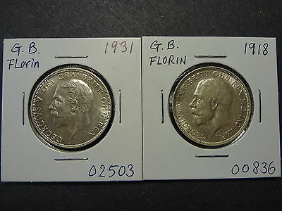 Great Britain 1918 + 1931 Florin Combo, 1918 Choice Au++, 1931 Choice Unc++ !