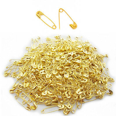 300 pcs Small Safety Pins GOLD Color Mini Pin 18mm Brass Metal Dressing Hooks