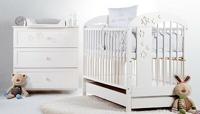 Baby Nursery Furniture Set Real Wood White Cot + Drawer Chest Drawers