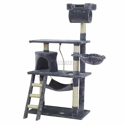 FoxHunter Kitten Cat Tree Scratching Post Sisal Toy Activity Centre Grey CAT064