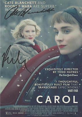 Carol (2015) Cate Blanchett Rooney Mara RARE (LESBIAN INT.) DUEL-SIGNED RP 8x10