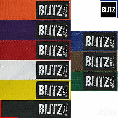 Blitz Plain Coloured Cotton Karate Taekwondo Belt Martial Arts Grading 230-320cm