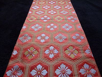 Vintage authentic Japanese fukuro obi for kimono, red/flowers, good cond.(F426)