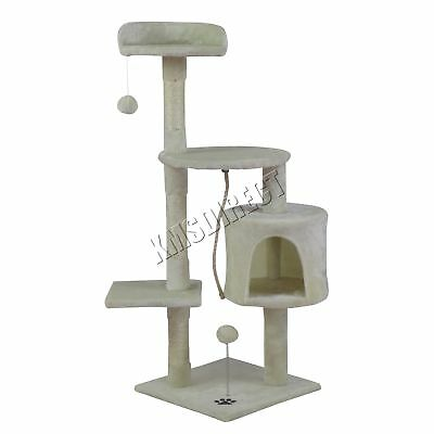 FoxHunter Kitten Cat Tree Scratching Post Sisal Toy Activity Centre Beige CAT806