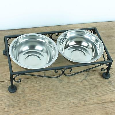 Cat Bowl Bowls Feeder Feed Holder Metal Vintage Pet Food Water Cats Twin Water