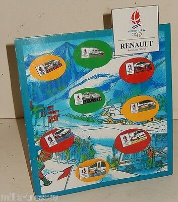 Planche Collector Jeux Olympiques ALBERTVILLE 92 - 8 pin's RENAULT Partenaire Of