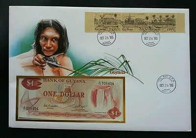 Guyana Traditional Houses 1985 Village Hunter Daily FDC (banknote cover) *rare