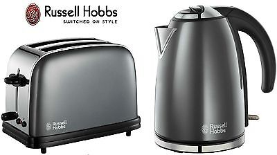 Russell Hobbs Colours Twin Pack of Kettle & 2 Slice Toaster Set Strom Grey