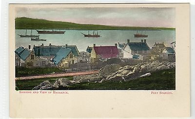 SHIPPING AND VIEW OF ENTRANCE, PORT STANLEY: Falkland Islands postcard (C9330)