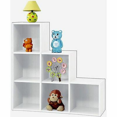 White Wooden 1, 2 ,3 Tier Step 6 Cube Bookcase Display Storage Unit Set