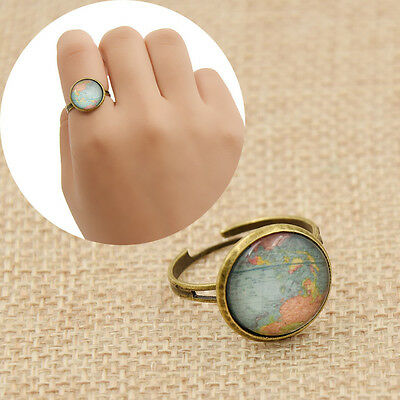 Vintage Cool Globe World Map Glass Dome Ring Adjustable Finger Ring Alloy Retro