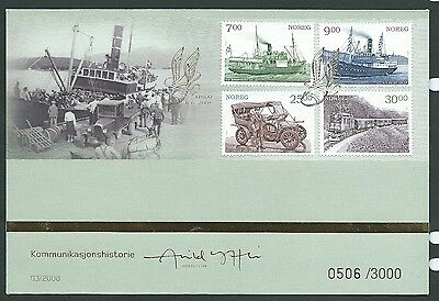 Norway 2008 Transport Ships Trains  First Day Cover Pristine