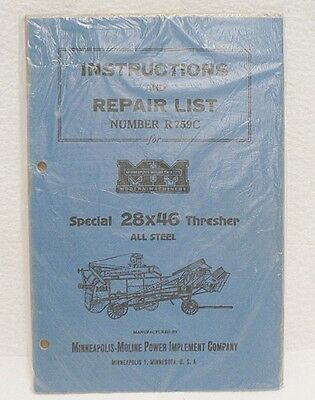Minneapolis Moline 28X46 Thresher Instruction And Repair List Booklet