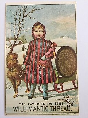Postcard Willimantic Linen Co Thread Advertising Trade Card Yester Years A8