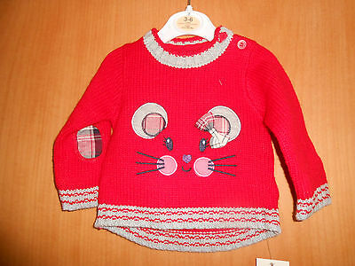 Girls red Mouse detail jumper, George, 0-3 months, BNWT,so Cute!