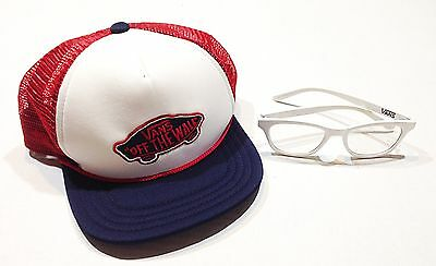 Vans YOUTH Boys White Nerd Clear Glasses Off The Wall Trucker Snap Back Hat Girl