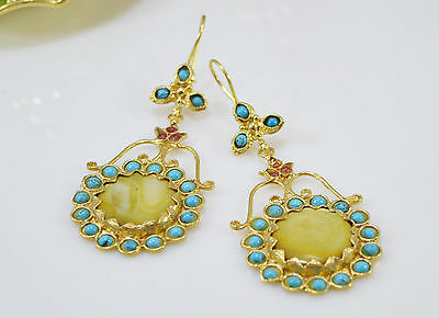 Ottoman Gems semi precious gem stone gold plated earrings Jade Agate handmde
