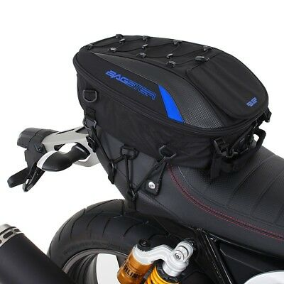 "Bagster ""spider"" Motorcycle Seat Bag - 23 Ltr - Black/blue - Web Mount System"