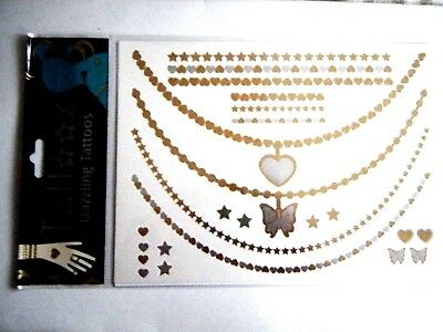 Metallic Temporary Tattoos Gold Silver Hearts Stars Butterflies 2 Sheets New