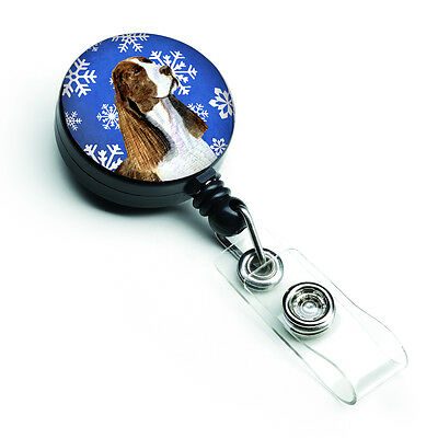 Springer Spaniel Winter Snowflakes Holiday Retractable Badge Reel