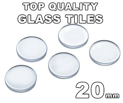 20mm Clear Glass Round Tiles Circles (Flat Bottom - Flat Top) - FREE SHIPPING