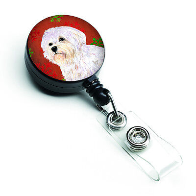 Maltese Red and Green Snowflakes Holiday Christmas Retractable Badge Reel